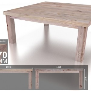 12 Seater Square Chunky Dining Table