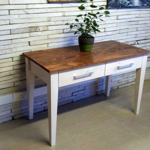 2 tone desk with 2 drawers mature teak and lime white