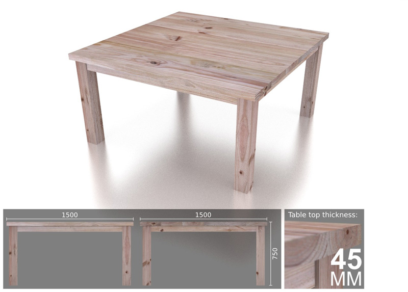 8 seater square chunky dining table eco furniture design