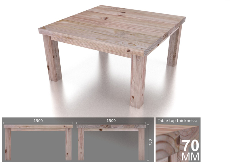 8 Seater Square Heavy Dining Table Eco Furniture Design