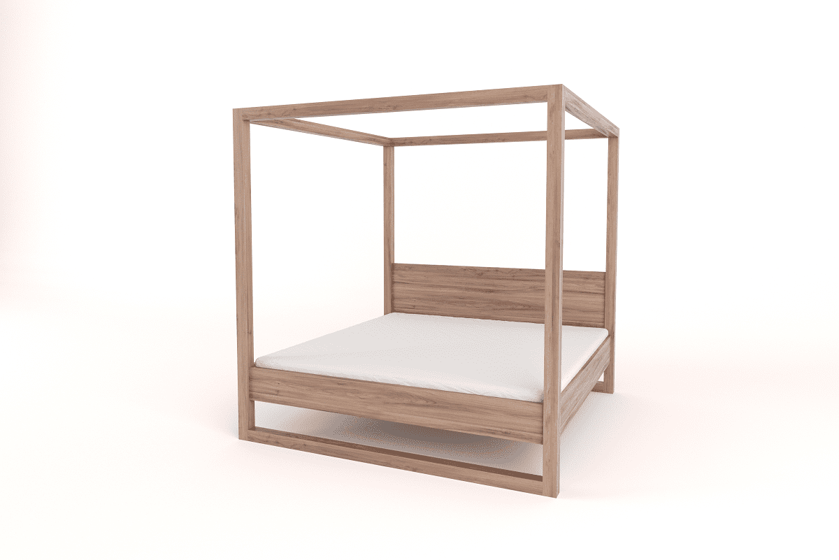 Wooden King Size 4 Poster Bed With Headboard Bedroom Furniture