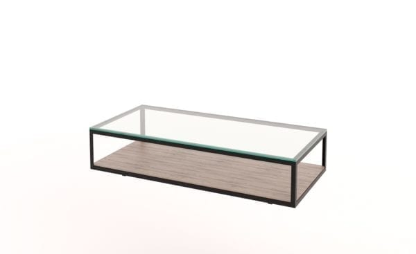 Glass Timber Steel Coffee Table