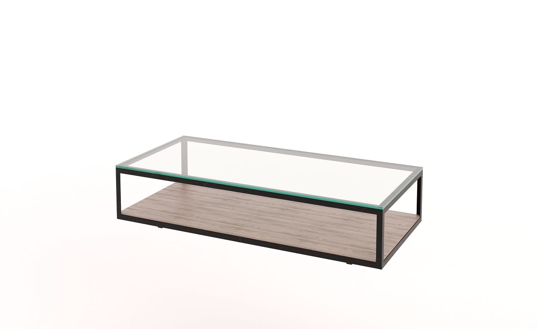 Glass Timber Steel Coffee Table
