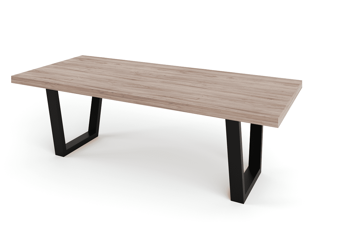 Solid Timber Table Top on Steel Base