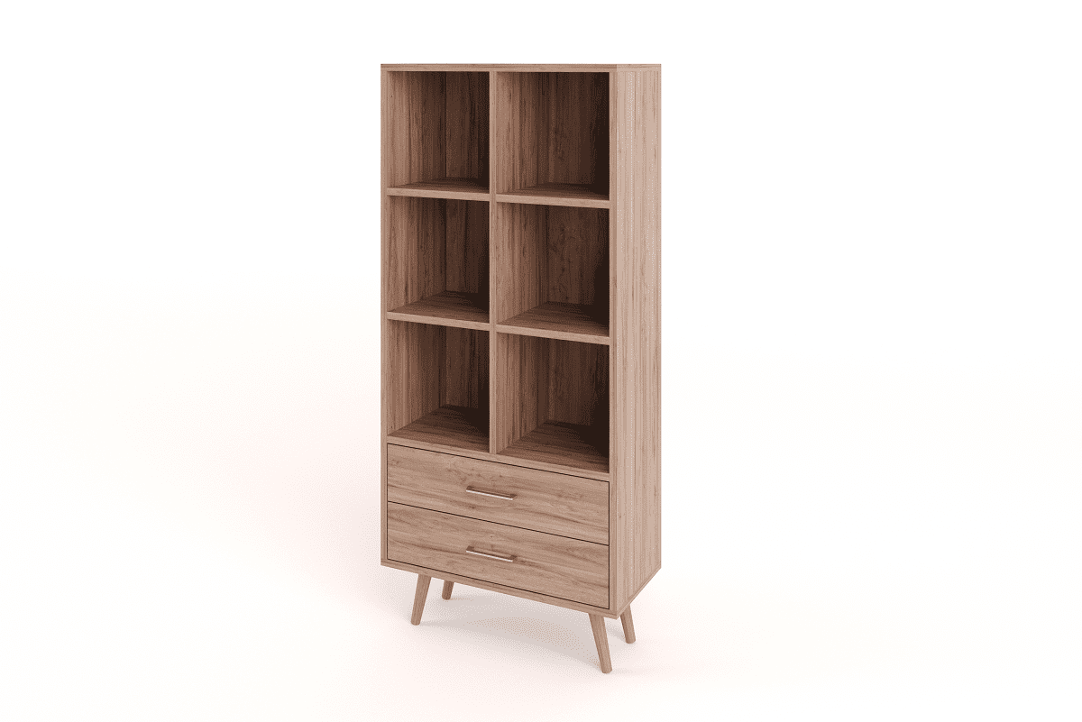Cooper Display Shelf With Drawers