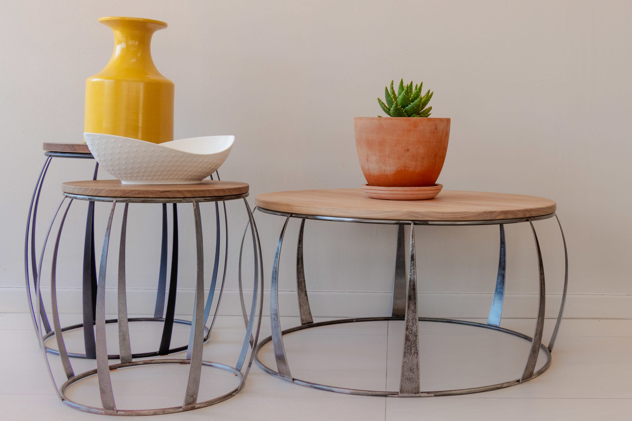 Raw Steel Frame Wooden Top Coffee And Side Table Set