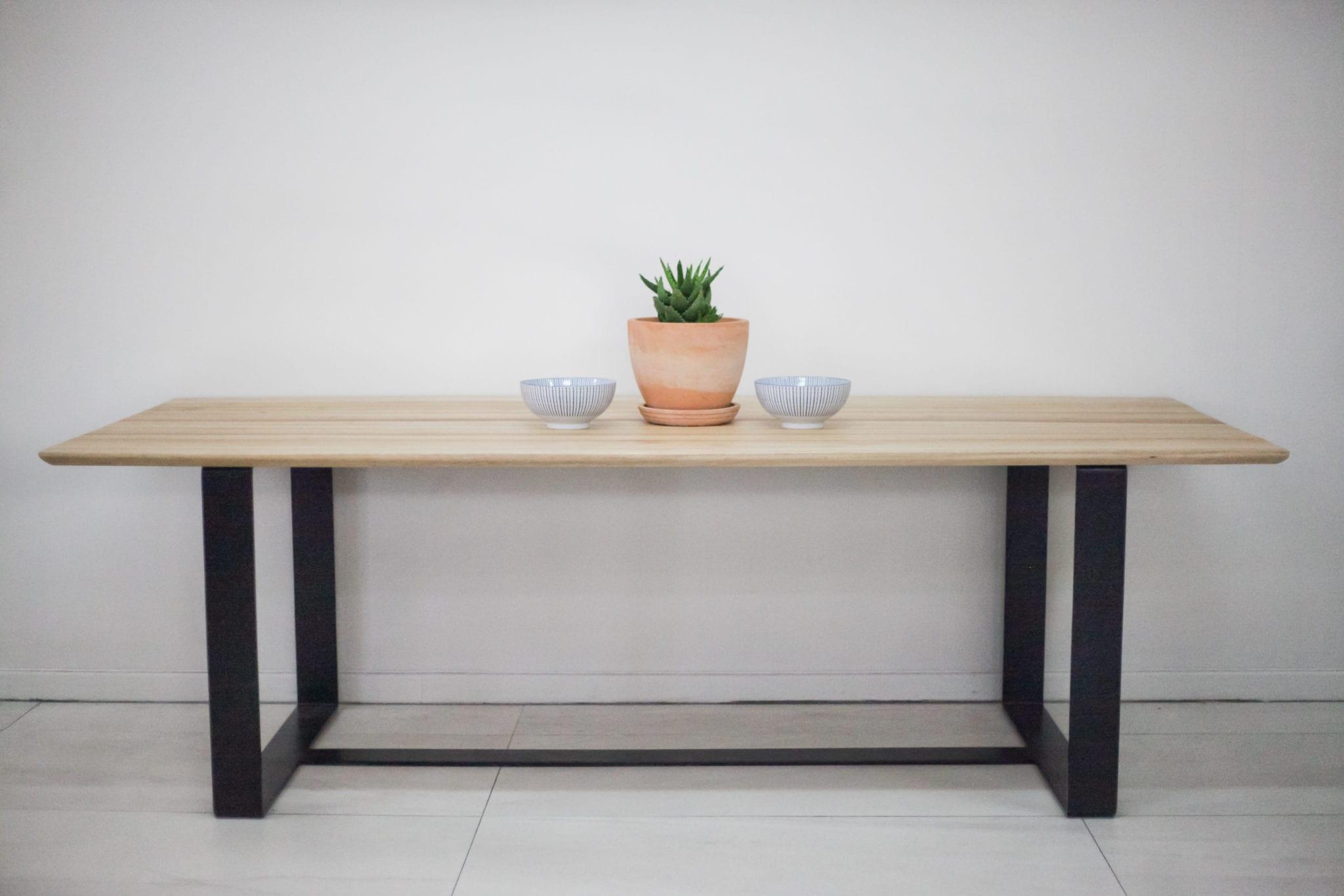 Flat bar steel frame dining table Blackwood top - Eco ...