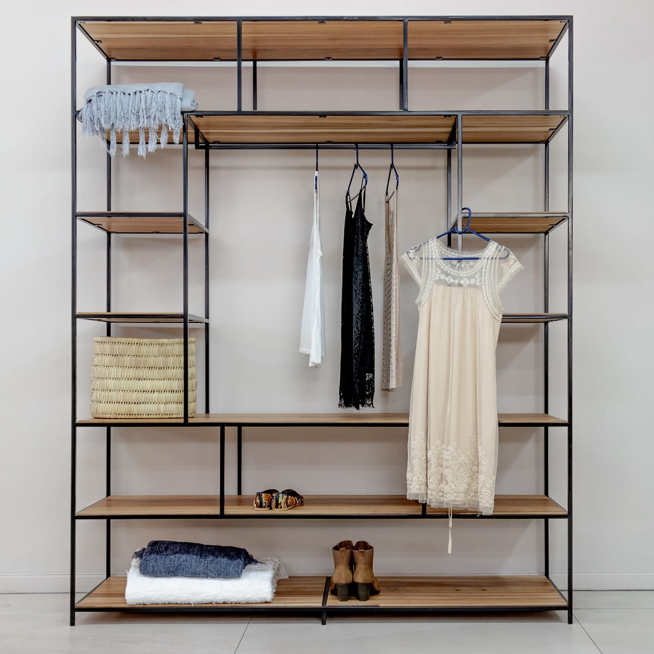 large steel open closet